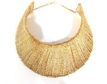 Chunky Gold Tribal Choker Necklace