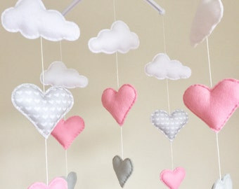Clouds & Hearts Musical Cot Mobile, Baby Mobile, Felt Cloud Nursery Mobile, Nursery Decor, Baby Mobile, Hearts Cot Mobile, Pink Grey Nursery