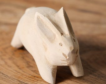 Hand-carved Handmade Wooden Large Rabbit Easter Bunny Figurine Ornament Rabbits Decor