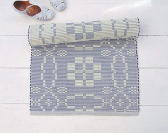 Ivory and Blue Rug, White Blue Runner Rug, Nordic Rug, Double-sided, Handmade on the Loom in Rep Weave Technique, Ready to Ship