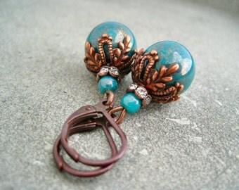 Earrings copper teal rhinestone rondelles Ohrringe kupfer petrol Strass