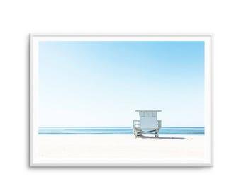 Lifeguard Tower Coastal Print Beach Print Pier Print Scandi Water Sand Unframed Print Poster Art Canvas