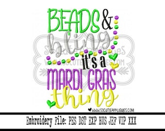 Mardi gras Embroidery design 5x7 6x10 Beads & bling Embroidery saying, NOLA embroidery, socuteappliques, Fat Tuesday embroidery, beads