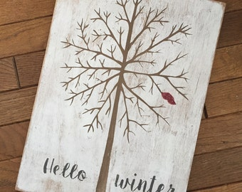 Hello Winter Wooden Sign - Hand Painted