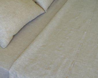 """Linen Sheet set Queen Oatmeal Beige 100% Pure Natural Flax European Bedding Deep Pocket 10"""" - 22"""" Meduim Weight"""