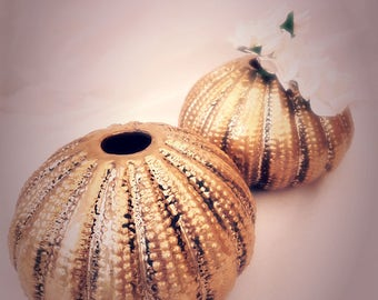 Sea Urchin Bud Vase set in Antique Gold, Beach Theme Wedding Set of 6 table decorations, Candle holder idea for party centerpieces