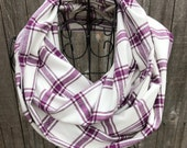 Purple and White  Plaid Lightweight Flannel Infinity Scarf