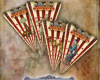 12 Vintage Circus Banner Flags