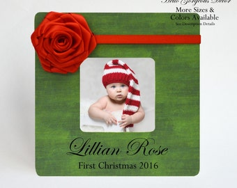 Baby's First Christmas Gift Picture Frame - Personalized 1st Christmas Keepsake - Gift for New Baby - Customized Baby Photo Frame