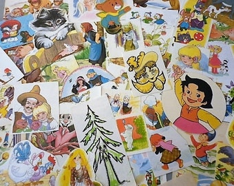 Pack vintage 46 illustrations of children's books - making scrapbooking collage cards