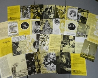 Pack 38 pages ephemeral color yellow - vintage french - projects collage, scrapbook ,Newspaper ing,