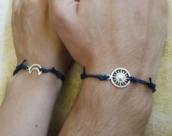 Hemp Couples Bracelet Moon and Sun Bracelet Love Bracelet Set of 2 Bracelet His and Hers Bracelet Husband Wife Bracelet Couples Gift