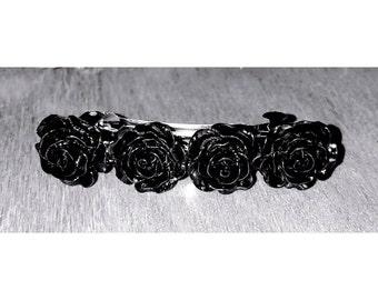 Black rose barrette, gothic barrette, hair accessories, gift for her, party bag filler, black rose clip, rose accessories, party bag gift