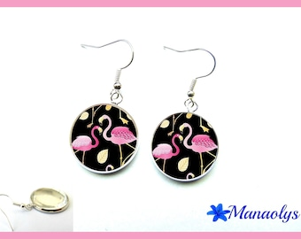 Pink flamingos earrings on black background, 2813 glass cabochons
