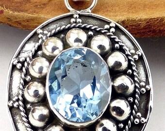 JEWEL PENDANT blue TOPAZ, Blue Topaz jewelry, natural stone jewelry, topaz jewels, topaz earrings da84.2