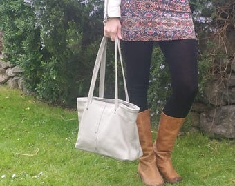 Light grey leather tote bag, leather shopper