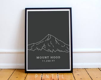 Mount Hood Oregon PNW Print Modern Hiking Design Printable Photo Frame Pacific Northwest Portland Lover Wall Art Minimalist Artwork Cascades