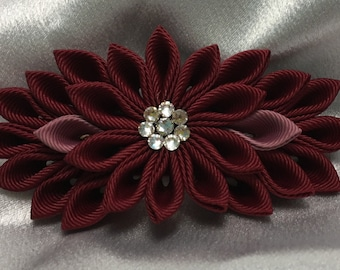 A Burgundy And Rosy Mauve Kanzashi Style French Barrette