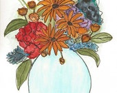 Original Artwork Watercolor and Ink Painting - Floral Arrangement of Flowers - Abstract Style - Nature Art