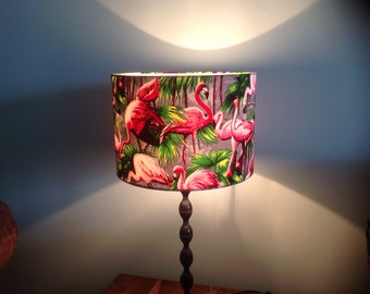 Hand made rolled-edge flamingo fabric lamp shade
