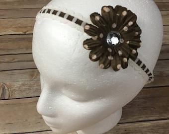 Brown single flower headband