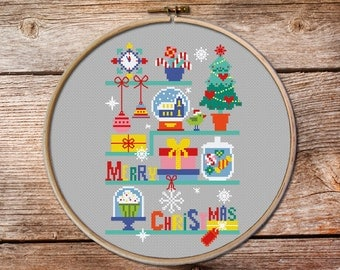 christmas cross stitch, cross stitch Christmas ornaments, modern Christmas cross stitch, holiday cross stitch pattern, cross stitch charts