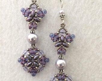 Purple and Lavender Pearl Crystal Mucha Goddess Earrings