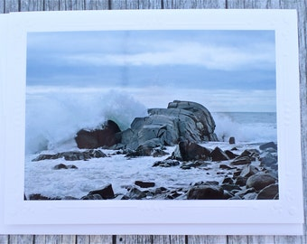 Photo Note card Stormy Seas Down East Maine
