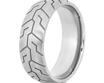 Men's Titanium Tire Tread Ring