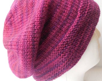 Slouchy Hat Knit In Soft Plum Colored Wool Yarn