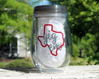 Texas A&M Tailgating Wine Glass, Gig Em Aggies Personalized Stemless Traveler