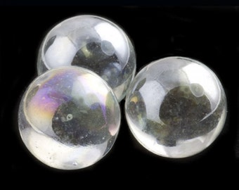 Vintage AB clear glass marbles. no hole, 14mm. Pkg of 4. b11-cr-0450(e)