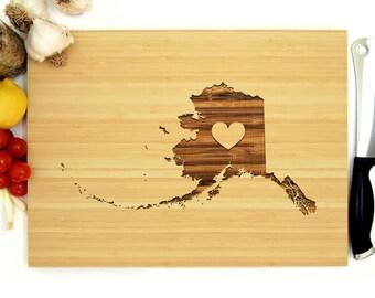 Alaska Cutting Board, Custom Cutting Board, Personalized Cutting Board, Alaska, Juneau, Anchorage, Fairbanks, Wedding gift, Bridal Gift