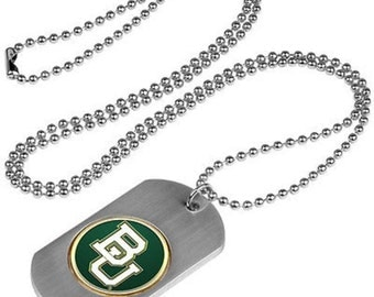 Baylor Bears Stainless Steel Dog Tag Necklace