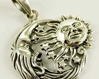 Sterling Silver Sun Moon Stars Pendant