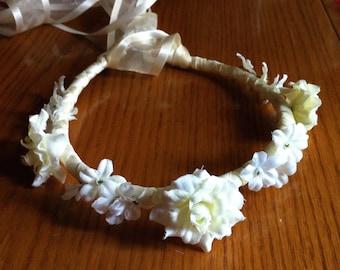 Communion Crown - Open Rose and Gypso Floral Bridal Ribbon Flower Girl  Crown Halo Head Piece Wreath Garland Purple Lilac Lavender C-Debbie