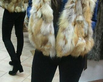 Sale -10%! New!Natural Real Hooded Golden Fox Fur bolero-short vest!!!