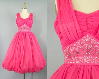 1950s hot pink chiffon party dress/ 50s beaded sequin dress/ extra small xs