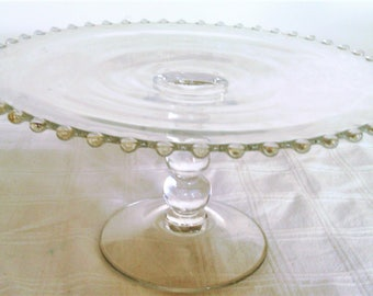 Vintage Imperial Glass Candlewick Pattern Pedestal Cake Stand or Salver
