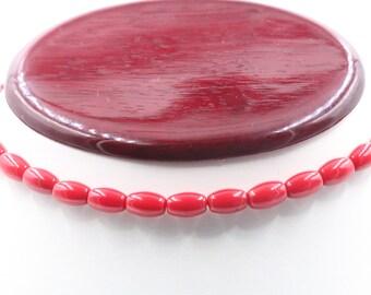 Stranded Red Barrel Beaded Necklace (unfinished)