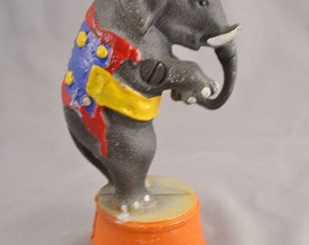 1920s Circus Elephant AC Williams Cast Iron Penny Bank  -  Vintage Bank