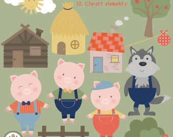 3 Little piggies , digital clip art set
