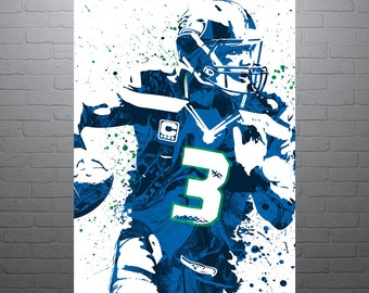 Russell Wilson Seattle Seahawks Sports Art Print, Football Poster, Kids Decor, Watercolor Contemporary Abstract Drawing Print, Modern Art