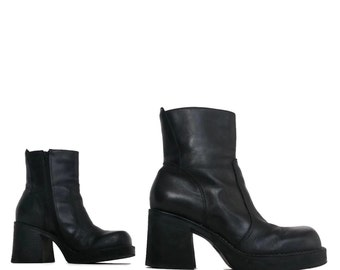 Black Leather Chunky Platform Ankle Boots- 7