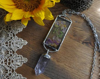 Flower and Amethyst Botanical Necklace // Spring // Flowers // Gypsy // Boho // Hippie // Bohemian // Zen // Nature Inspired Jewelry