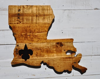 State of Louisiana Wooden Sign // Fluer de Lis // Wall Decor // Home Decor // Louisiana Decor // State Signs // State Wall Hanging