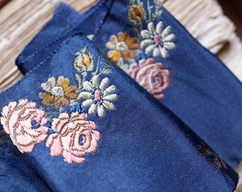 1800s antique French haute couture jacquard ribbon blue silk w/ pink rose & daisy floral motif millinery, costume design, home decor