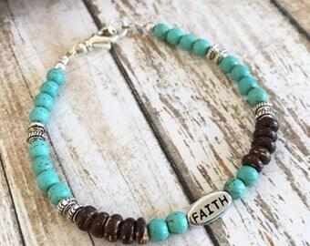 Turquoise Magnesite Coconut Faith Bracelet, Spiritual Bracelets, Silver Bracelets, Bohemian Bracelets, Gift Ideas for Her, Birthday Gifts