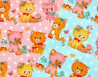 fat eighth, fat quarter, 1/2 meters / Japanese fabric / kawaii fabric / retro fabric / kitch fabric / cat fabric / spring fabric /