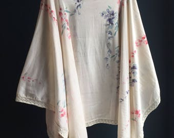Hand-Painted Women's silk scarf | shawl, with lace trim- beautiful gift for any woman, blue red wisteria - unique one of a kind piece of art